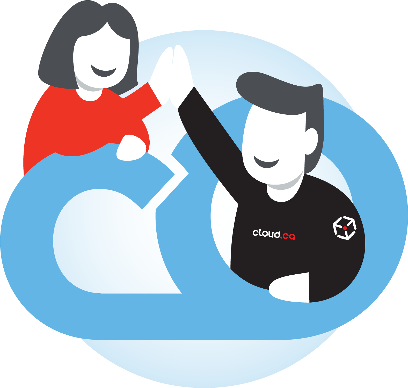 people high-fiving around a CloudOps logo