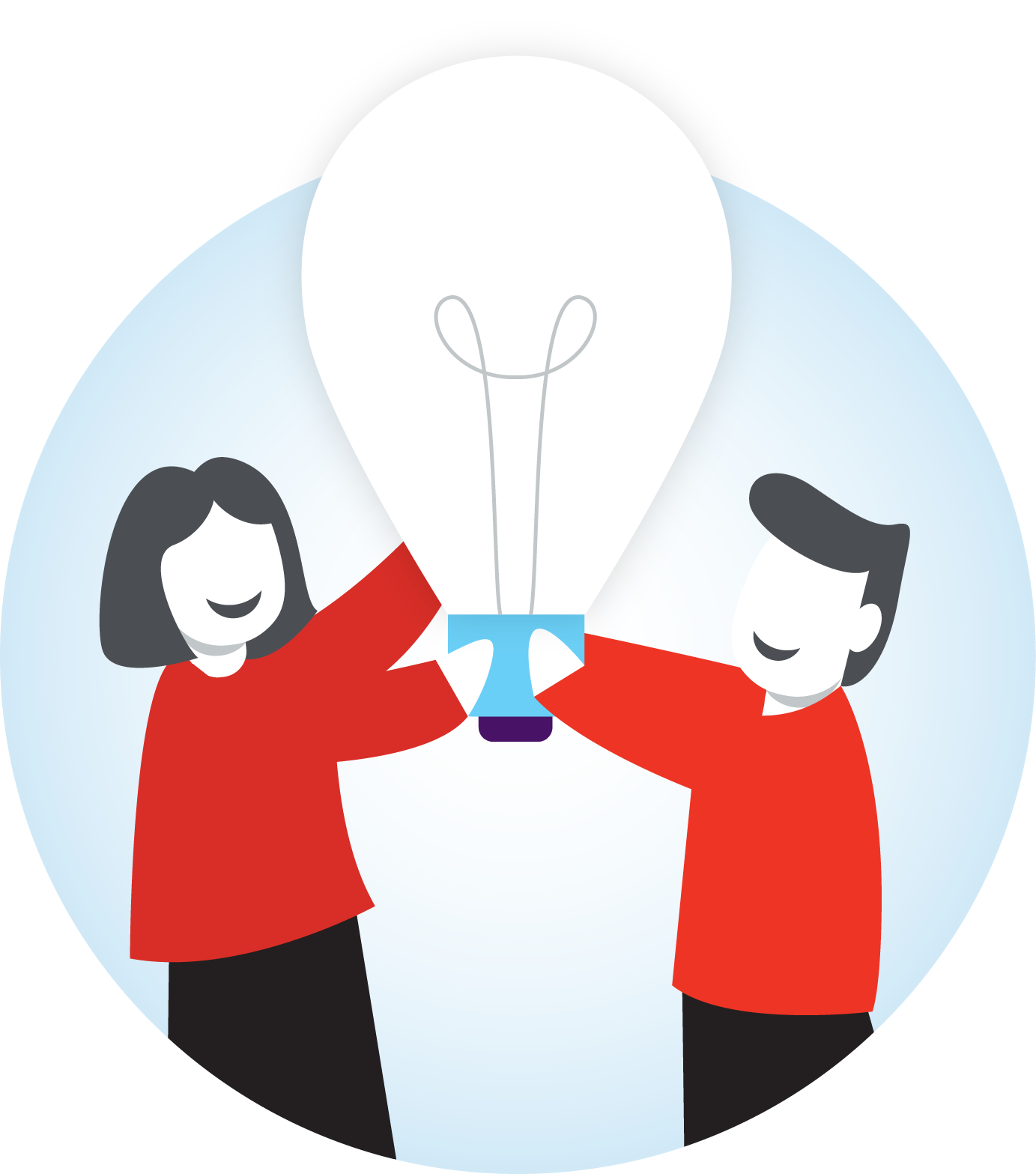 two people holding a giant lightbulb in the air together